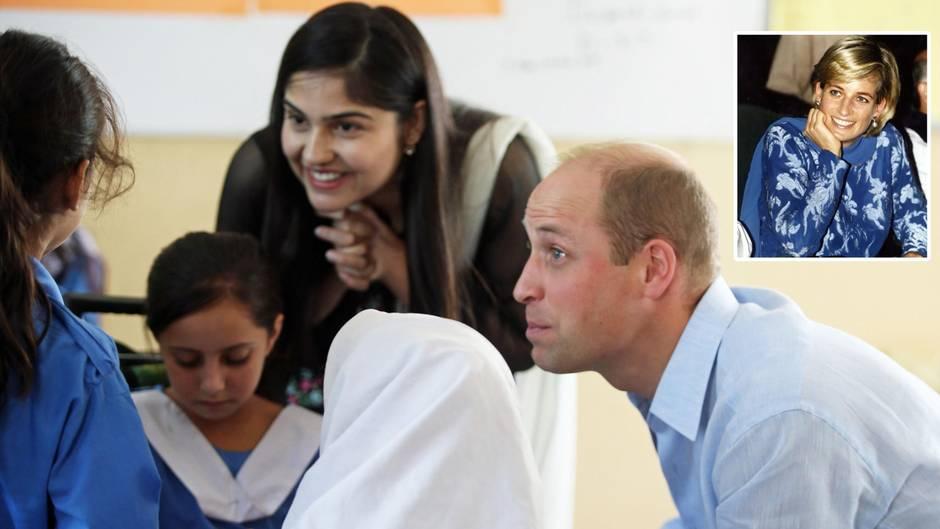 Prinz William im Gespräch mit pakistanischen Kindern