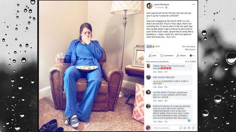 Krankenschwester Caty weint nach einem harten Tag