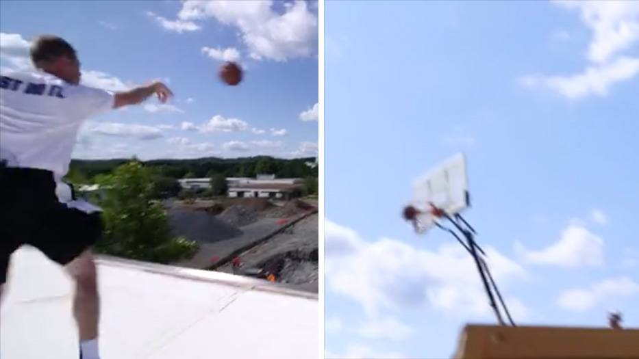 Ein besonderer Wurf: Vom Dach aus: Basketball-Trainer schafft Unglaubliches