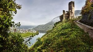 """""""Strom, der kein Geheimnis kennt"""", so besang der Dichter Ausonius um 371 derMoselklares Wasser. Darüber thront die Burgruine Metternich"""