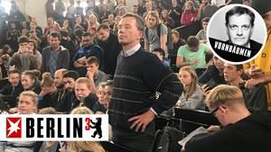 Der Wirtschaftswissenschaftler und frühere AfD-Chef Bernd Lucke wurde im überfüllten HörsaalB der Hamburger Uni zum Schweigen verdonnert.