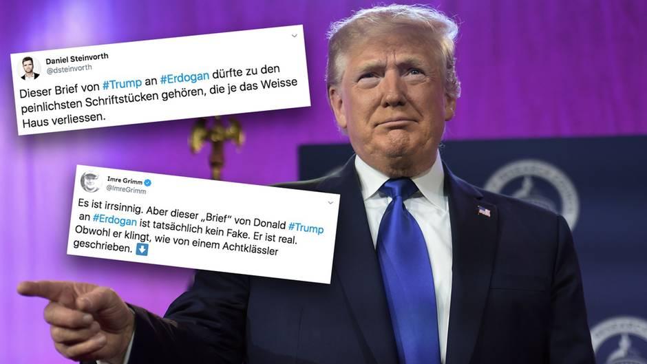 Der Brief von Donald Trump an Recep Tayyip Erdogan sorgt für Spott und Hohn auf Twitter.