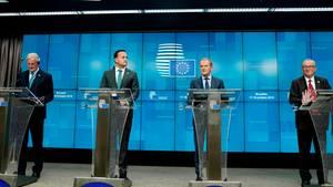 Michel Barnier,Leo Varadkar, Donald Tusk und Jean-Claude Juncker