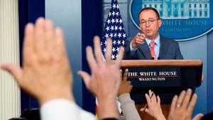 Stabschef Mick Mulvaney bei seinem Auftritt im Weißen Haus