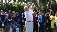 Ein Fotovon 2014:Donald Trum beim Golfspiel in seinem einem Club.