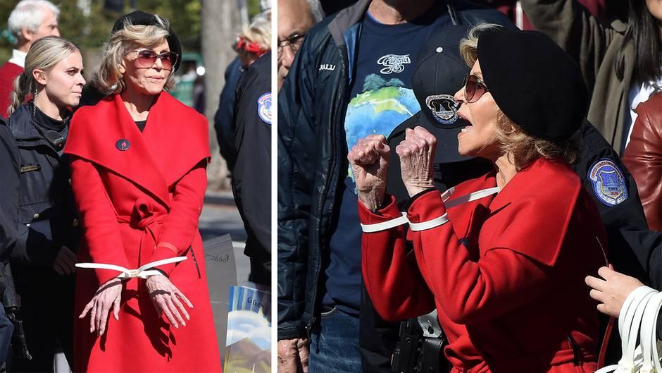 """""""Fire Drill Fridays""""-Proteste:  Jane Fonda in Handschellen: 82-jährige Schauspielerin bei Klimaprotesten verhaftet"""