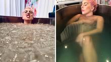 Lady Gaga in einer Eiswanne