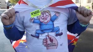 Ein Anti-Brexit-Demonstrant trägt ein T-Shirt mit einer Karikatur Boris Johnsons