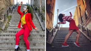 Frauen posen an einer Treppe