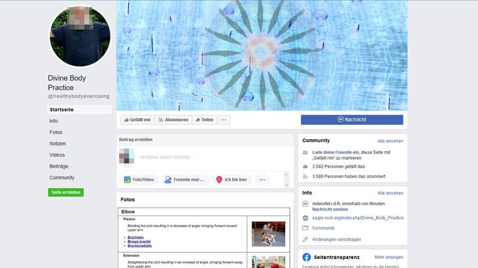 """Screenshot der Facebook-Seite """"Divine Body Practice"""""""