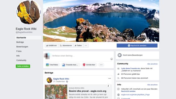 """Ein Screenshot der Facebook-Seite von """"Eagle Rocket Wiki"""""""