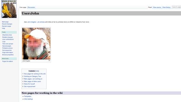 """Ein Screenshot des Profils von """"John Eagles"""" auf """"Eagle Rock Wiki"""""""