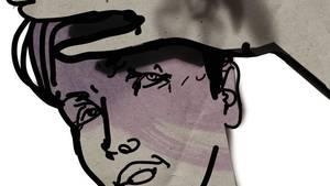 Illustration eines Mannes. Eine Hand greift in Richtung seiner Stirn.
