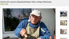 Der Mann stellte ein Foto seines Vaters ein, auf dem er Werkzeug repariert