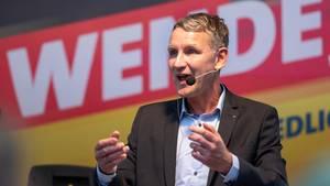 Björn Höckespricht im Wahlkampf in Bad Langensalza