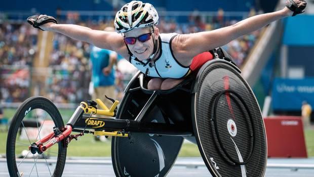 Marieke Vervoort in Rio 2016nach dem Gewinn der Silbermedaille über 400 Meter im Handbike