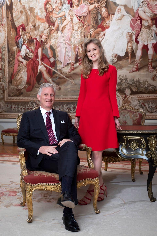 Prinzessin Elisabeth mit ihrem Vater König Philippe