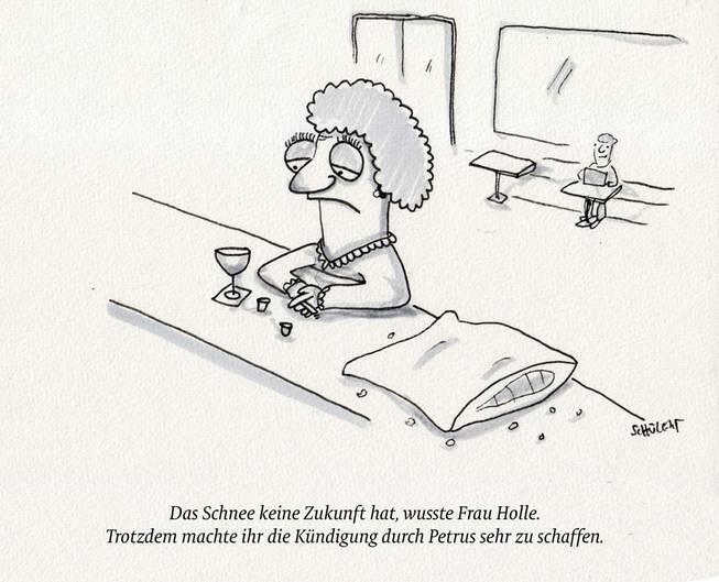 Cartoon: eine alte Dame sitzt am Tresen.
