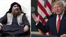 Ein Screenshot Video zeigt den Anführer der IS-Terrormiliz Abu Bakr al-Bagdadi. Rechts US-Präsident Donald Trump