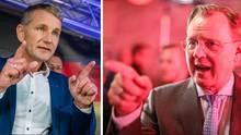 AfD-Spitzenkandidat Björn Höcke , Ministerpräsident Bodo Ramelow (Linke) nach der Landtagswahl in Thüringen