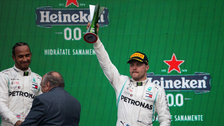 Valtteri Bottas und Lewis Hamilton auf dem Treppchen in Mexiko