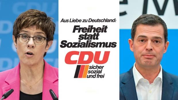 CDU-Parteichefin Annegret Kramp-Karrenbauer; CDUWhalplakat von 1976, Thüringer CDU-Spitzenkandidat Mike Mohring