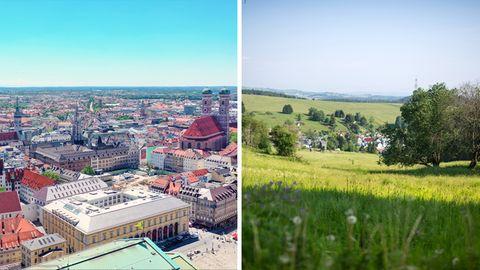 Stadt versus Land: Ob man in der Münchner Innenstadt oder einemDorf im Thüringer Wald wohnt, macht auch bei den Finanzen einen Unterschied