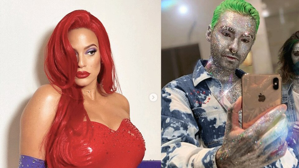 Collage: Ashley Graham und Bill Kaulitz in Halloween-Kostümen