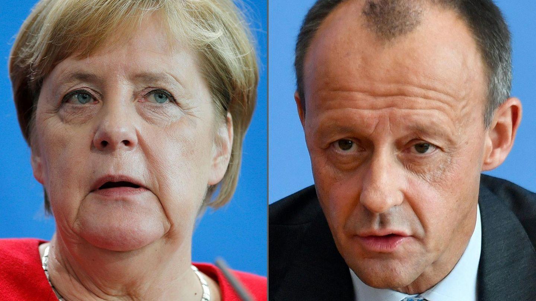 Die Bildcombo zeigt Kanzlerin Angela Merkel und den ehemaligen Ex-Unionsfraktionschef Friedrich Merz