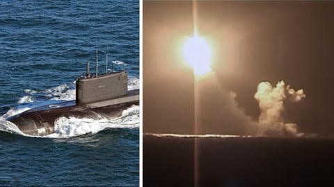 Links: Ein russisches U-Boot der Kilo-Klasse (Archiv). Rechts: Ein Screenshot des Videos des Raketenstarts