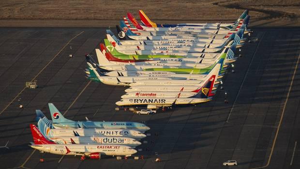 Produziert und nicht ausgeliefert: Fabrikneue Boeing 737 Max aufGrant County International Airport in Moses Lake im BundesstaatWashington.