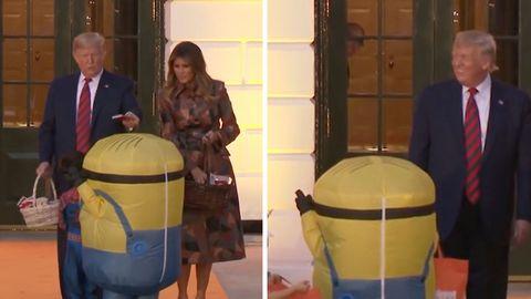Donald und Melania Trump verteilen Süßigkeiten an Kinder