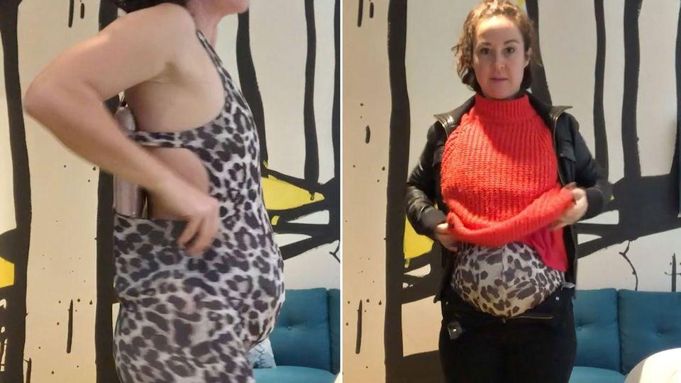 Collage: Frau mit falschem Schwangerschaftsbauch