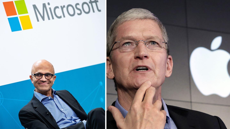 Microsoft-Chef Satya Nadella und Apple-CEO Tim Cook