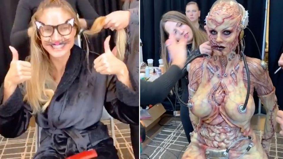 Collage: Heid Klum in zwei Kostümen