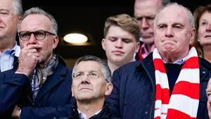 Bayern-Boss Karl-Heinz Rummenigge (l.), Präsident Uli Hoeneß (r.) und dessen designierter Nachfolger Herbert Hainer (M.)