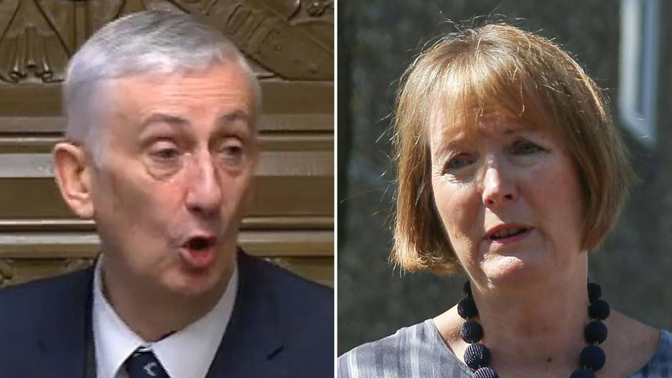 Der Labour-Abgeordnete Lindsay Hoyle und die dienstälteste Parlamentarierin Harriet Harman