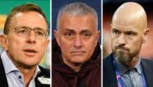 Collage: Ralf Rangnick, José Mourinho & Erik ten Hag