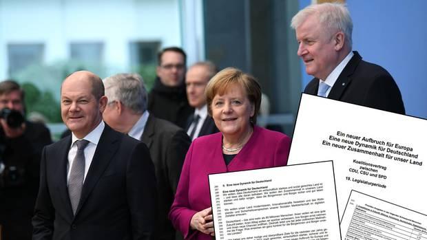 Vizekanzler Olaf Scholz (SPD), Bundeskanzlerin Angela Merkel (CDU) und Bundesinnenminister Horst Seehofer (CSU, v. l.)