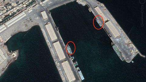 Ein Luftbild des Hafens von Assab vom November 2018