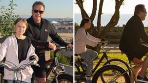 Greta Thunberg und Arnold Schwarzenegger unternehmen zusammen eine Fahrradtour