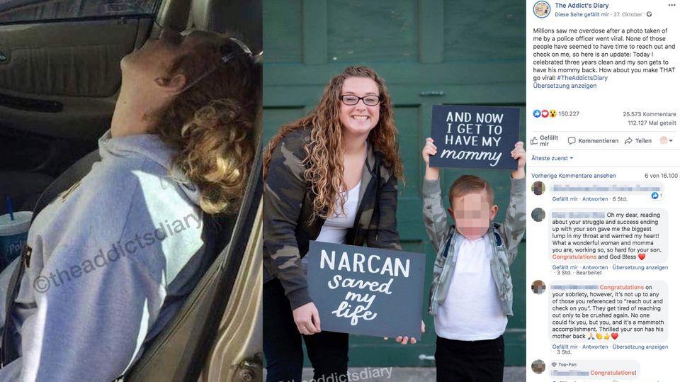 Polizeibild der Mutter mit Überdosis und aktuelles Bild von Mutter und Sohn