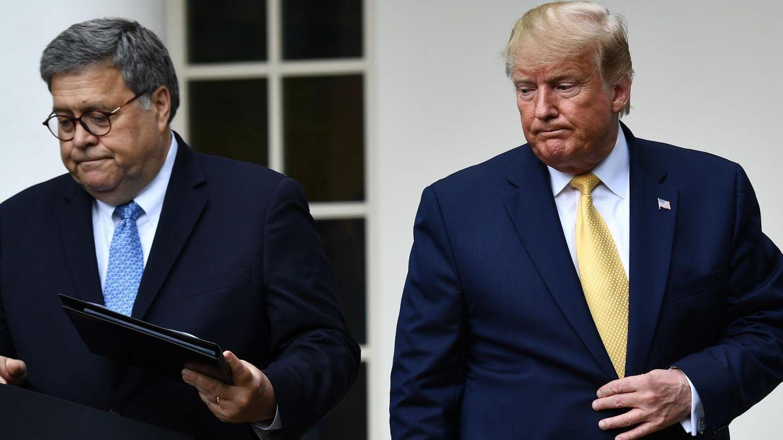 Justizminister William Barrund US-Präsident Donald Trump vor dem Weißen Haus
