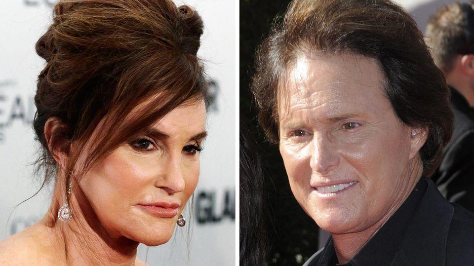 Caitlyn Jenner links und vor der Transition rechts