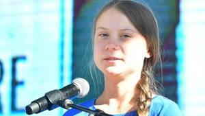 Greta Thunberg während eines Klimastreiks in Los Angeles