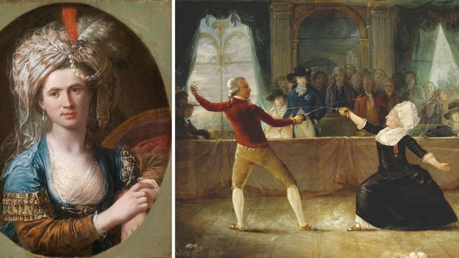 DieChevalière Charlotte d'Eon. Links ein Portrait in jüngeren Jahren und rechts als Showfechterin vonAlexandre-Auguste Robineau.