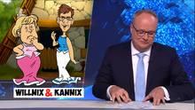 heute-show Moderator Welke schmunzelt über ein Bild, das Merkel und AKK im Asterix-Stil zeigt