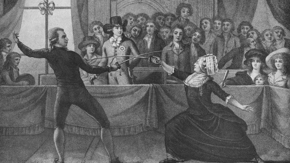 Porträt eines Fechtkampfs zwischen der Chevalière Charlotte d'Eon und Monsieur De Saint George