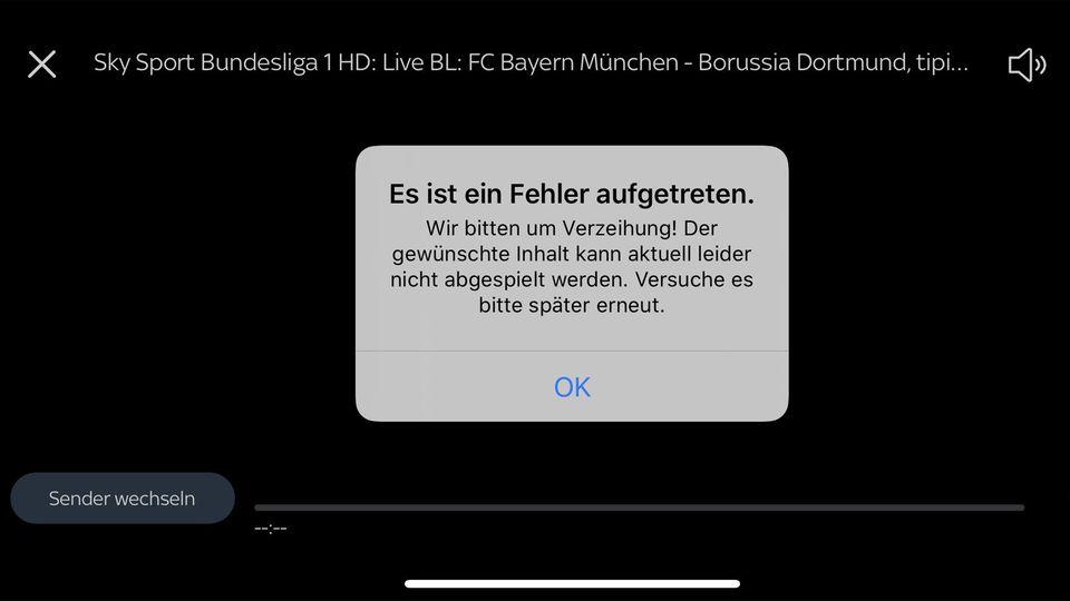 Screenshot: Fehlermeldung bei Videoübertragung
