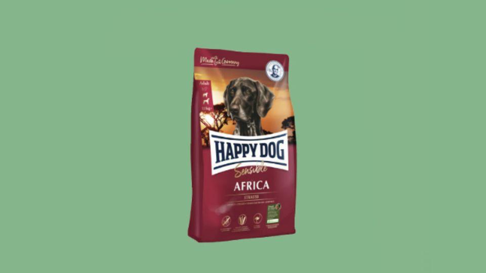 """""""Happy Dog Africa"""" mit der seltenen Proteinquelle Strauß ist ideal für ernährungssensible Hunde. Die getreidefreie Rezeptur wird von Tierärzten bei Futtermittelunverträglichkeiten empfohlen. Wir verlosen 1x ein Halbjahresvorrat """"Supreme Sensible Africa"""" im Wert von ca. 150 Euro. www.happydog.de"""